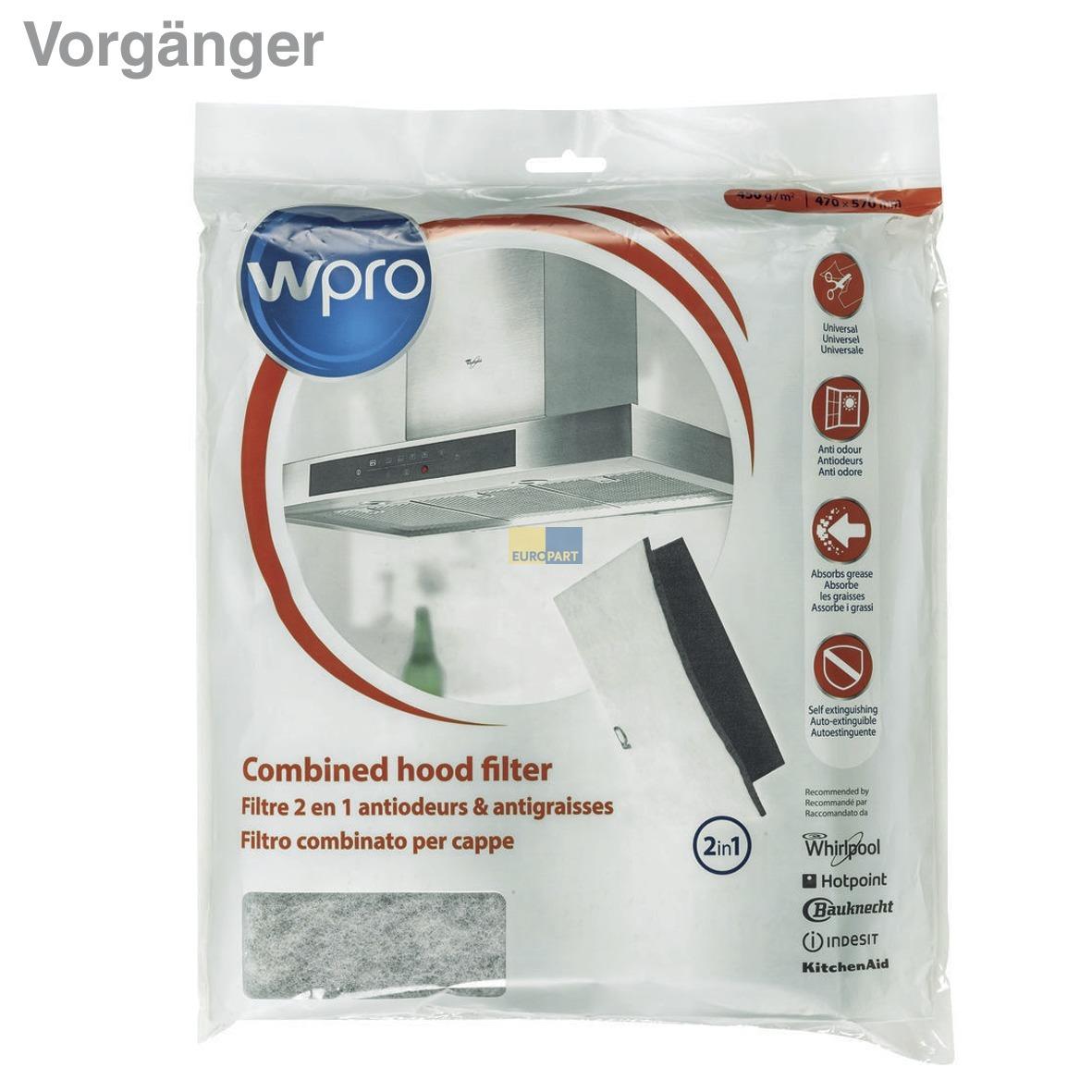 Wpro Kohlefiltermatte mit Fettfilter Set Dunstabzugshaube UCF016 484000008524